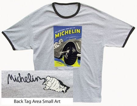 All That Runs Michelin T-shirt | Ash, Navy Trim | Large