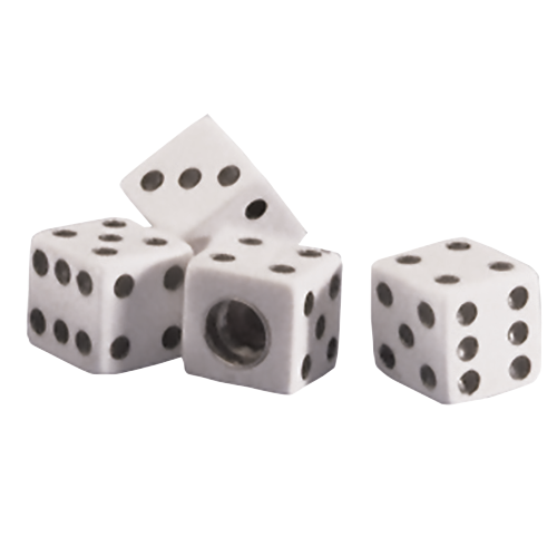 Dice Valve Cap | White | Set of 4