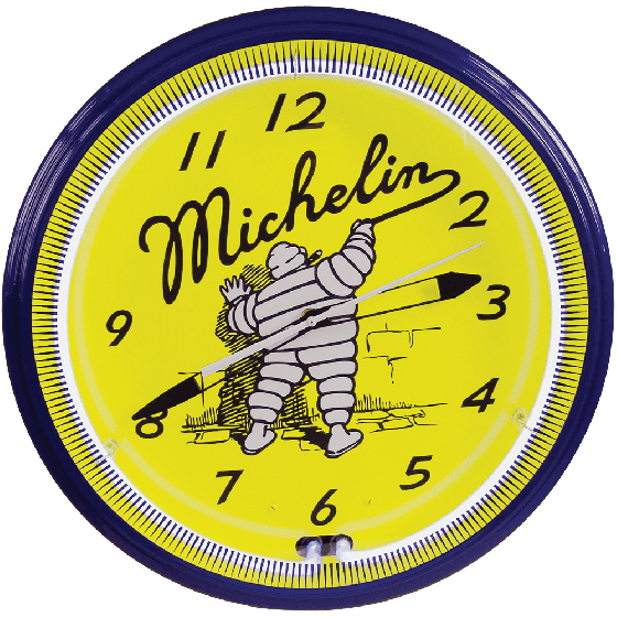 Clock | Michelin Vintage Style Neon | Mr. Bib Writing on the WaIl