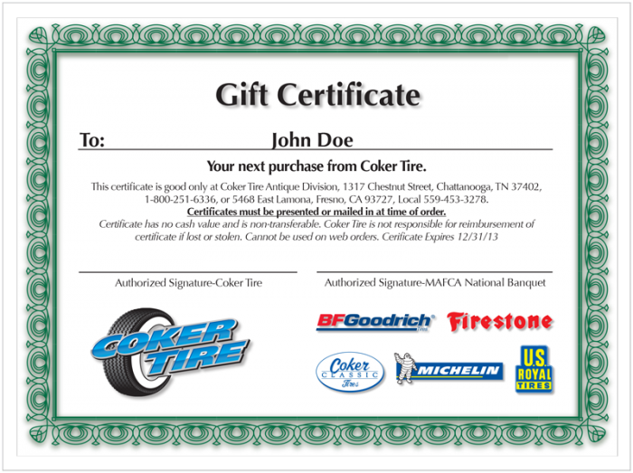 Gift Certificate | $1000