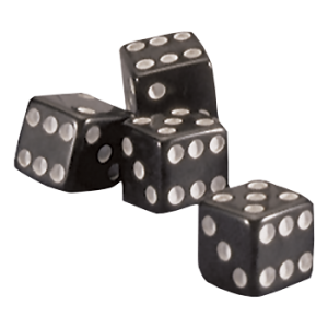 Dice Valve Cap | Black | Set of 4