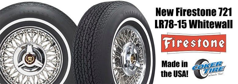 New Firestone 721 Series LR78-15 Whitewall Tire
